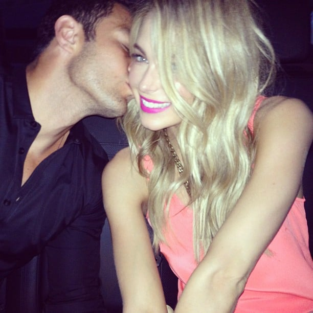 Jennifer Hawkins got an Australia Day kiss from fiancé Jake Wall. Source: Instagram user jenhawkins_