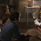 Andy and his mom, Karen (Aubrey Plaza), lay eyes on the cursed Buddi doll for the first time.