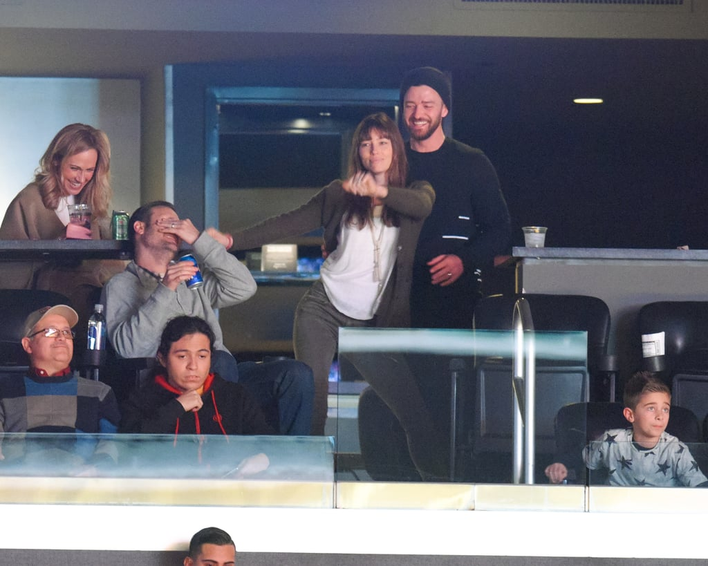 """Seeing as Justin Timberlake and Jessica Biel are almost unbearably cute, it should come as no surprise that their date night on Tuesday had everyone around them in stitches. The PDA-friendly pair hit the Staples Center to watch the Los Angeles Lakers take on the Memphis Grizzlies, where Jessica supported the home team by busting a move in the stands. Justin danced and laughed behind her, and also made sure to sneak in a few kisses. Naturally the people around them couldn't help but giggle along with him. Later on, the """"Can't Stop the Feeling"""" singer showed off his own basketball prowess by making a few incredibly hard shots, which he documented on Instagram. Although it might not have been as romantic as their recent holiday to the Caribbean, it sure beats a boring night in playing Scrabble, right?       Related:                                                                                                           Justin Timberlake and Jessica Biel's Quotes About Each Other Will Only Leave You Green With Envy"""