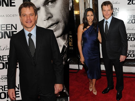Matt Damon and wife Luciana at the New York City premiere of The Green Zone