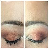 """I then created a look using the Urban Decay palette. On my right eye, I used the shade """"Chaser"""" all over as the base color and then used the shade """"Ounce"""" in the inner corner and on the brow bone. The shade """"Dirty Talk"""" was used in the outer corner, and a mixture of shades """"En Fuego"""" and """"Ashes"""" was used in the crease. For liner, I wet my brush and swept """"Ashes"""" across my upper and lower lash line.  On my left eye, I used the NYX palette. The number three shadow on the top was used all over as my base color. The fifth color on the top of the palette was the inner corner and brow bone. The third shadow on the bottom was used in the outer corner. The second color on the top, mixed with the fourth and fifth bottom-row colors, was used in the crease.  The bottom fourth and fifth shades were mixed together and used wet on the lash line, top and bottom. I asked about 20 people to pick the Urban Decay eye, and only two people got it right!"""