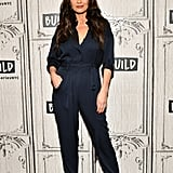 In January, she kept things casual in a navy jumpsuit.