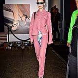 Wearing a pink look straight from the Off-White Pre-Fall 2018 collection. Her PVC pumps were from Off-White's collection with Jimmy Choo.