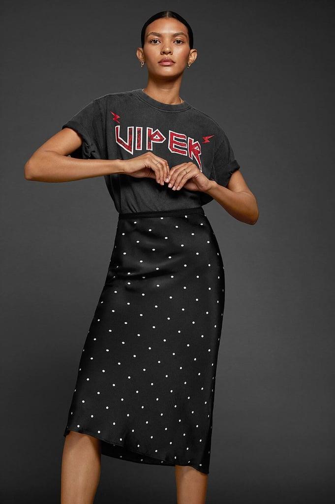 Anine Bing Bar Silk Skirt in Polka Dot