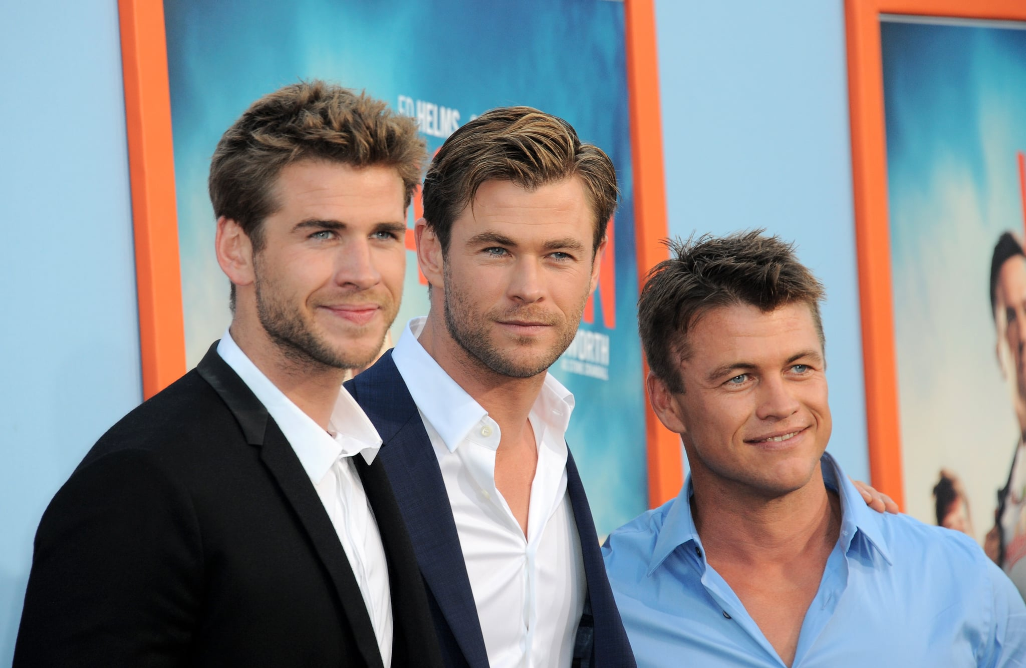 WESTWOOD, CA - JULY 27:  Actors/brothers Liam Hemsworth, Luke Hemsworth and Chris Hemsworth arrive for the Premiere Of Warner Bros. Pictures'