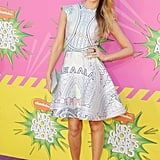 Jessica Alba looked pretty in a pale Mary Katrantzou number at the 2013 Nickelodeon Kids' Choice Awards.
