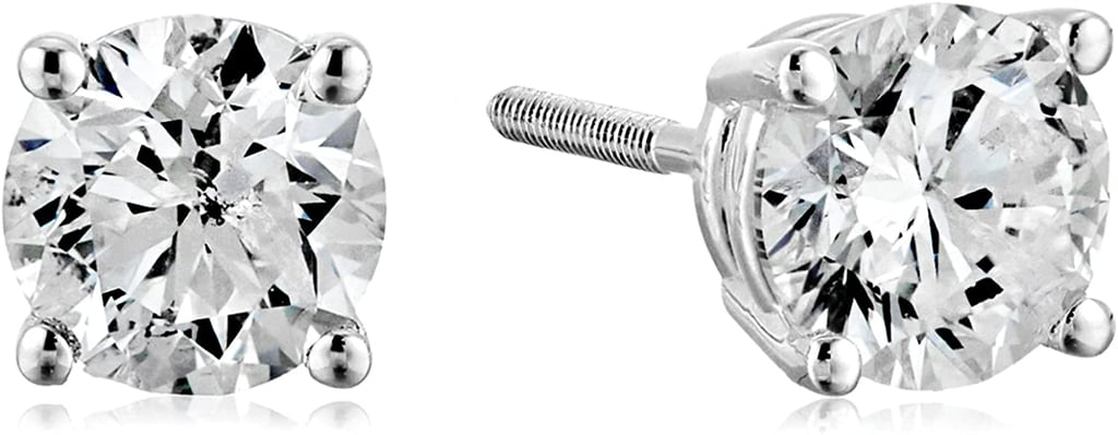 Certified 14k White Gold Diamond With Screw Back and Post Stud Earrings
