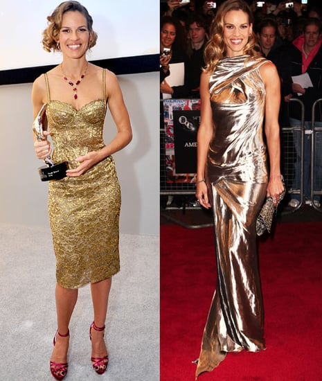 Which Metallic Dress Looks Sexier On Hilary Swank?