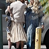 Jessica Simpson greets sister Ashlee at her baby shower.