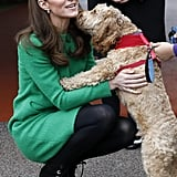 Kate got a kiss from this cute dog during her visit to Lavender Primary School in February 2019.