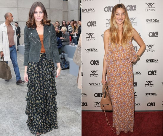 Maxi-style florals on both.