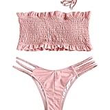 Zaful Ruffles Braided Smocked Bikini Set
