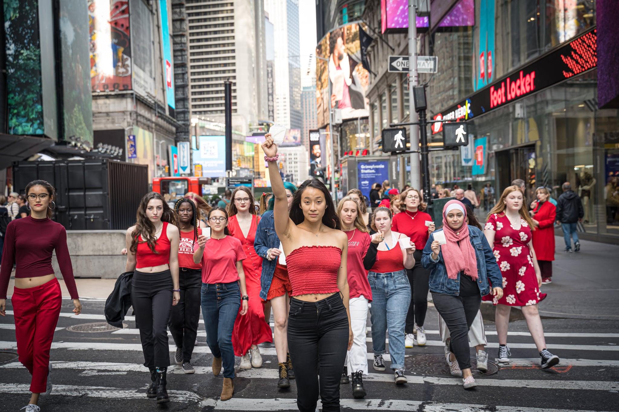 Nadya Okamoto leading activists on National Period Day 2019