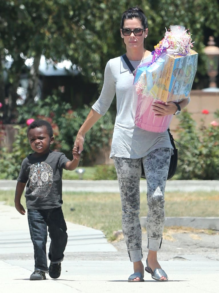 Sandra Bullock Takes Louis to a Birthday Party in LA ...