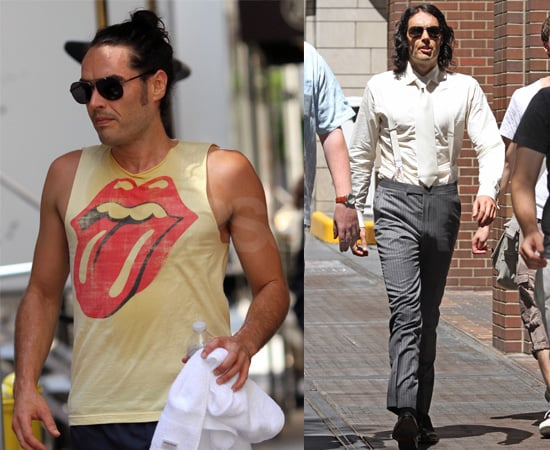 Pictures of Russell Brand With His Hair Up After A Workout Then Playing Arthur in New York