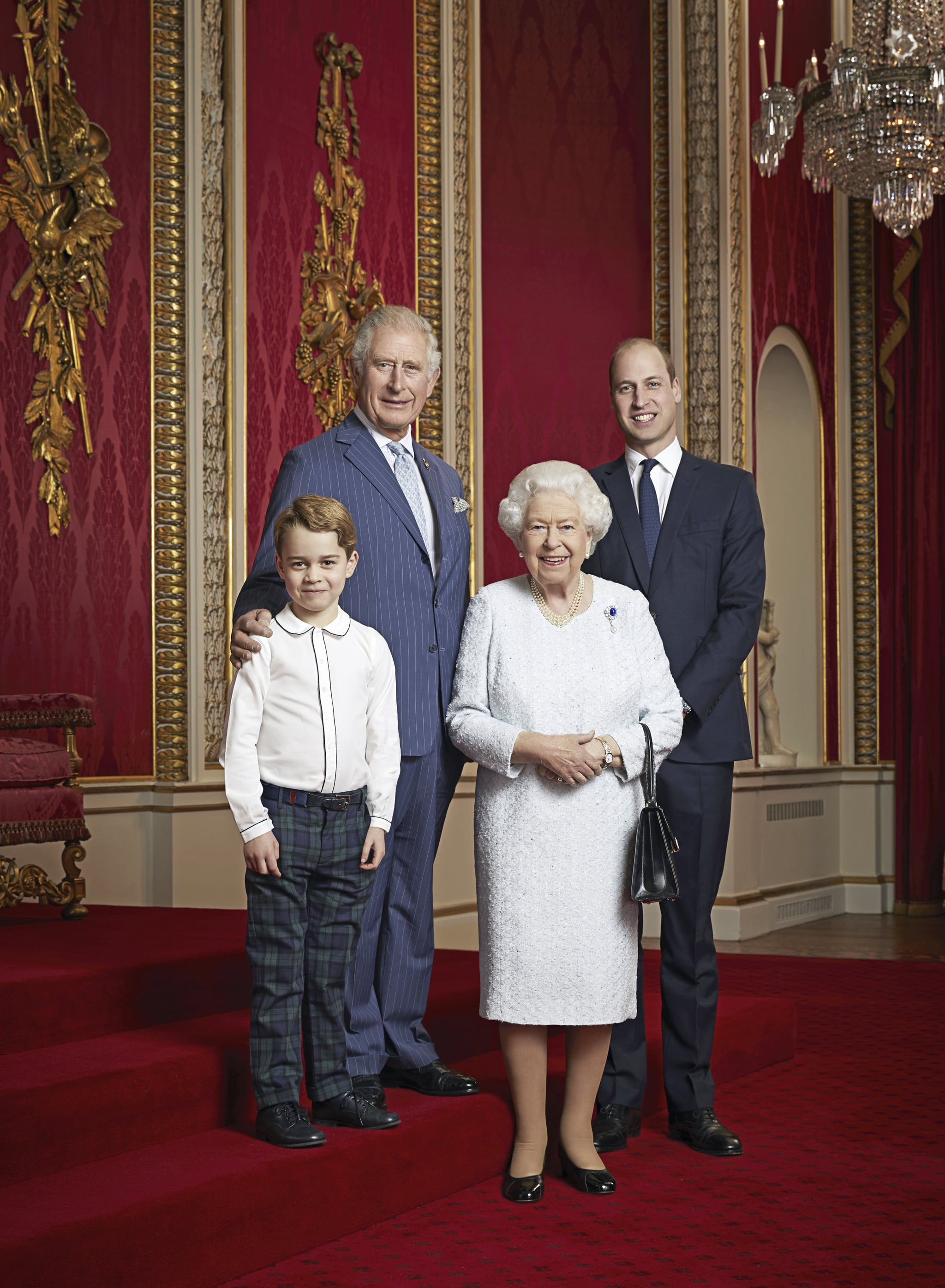 Royal Portrait. EMBARGOED UNTIL 2200 FRIDAY JANUARY 3, 2020. MANDATORY CREDIT: Ranald Mackechnie. This photograph is solely for news editorial use only; no charge should be made for the supply, release or publication of the photograph; no commercial use whatsoever of the photograph (including any use in merchandising, advertising or any other non-editorial use); not for use after 15th January 2020 without prior permission from Royal Communications. The photograph must not be digitally enhanced, manipulated or modified in any manner or form and must include all of the individuals in the photograph when published. This new portrait of Queen Elizabeth II, the Prince of Wales, the Duke of Cambridge and Prince George has been released to mark the start of a new decade. This is only the second time such a portrait has been issued. The first was released in April 2016 to celebrate Her Majesty's 90th birthday. The portrait was then used on special commemorative stamps released by the Royal Mail. This new portrait was taken by the same photographer, Ranald Mackechnie, in the Throne Room at Buckingham Palace on Wednesday December 18, 2019. Publications are asked to credit the photograph to Ranald Mackechnie. Issue date: Friday January 3, 2020. See PA story ROYAL Portrait. Photo credit should read: Ranald Mackechnie. URN:49332701 (Press Association via AP Images)