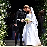 "Meghan and Harry's nuptials were televised, and watched by over 29 million people in the US and 18 million in the UK. There were a number of adorable viral moments, including Harry telling Meghan she looked ""amazing"" at the altar, and Meghan's historic solo walk down the aisle. After their ceremony, Meghan and Harry had their first kiss outside of St. George's Chapel before embarking on a traditional carriage procession through the streets of Windsor."