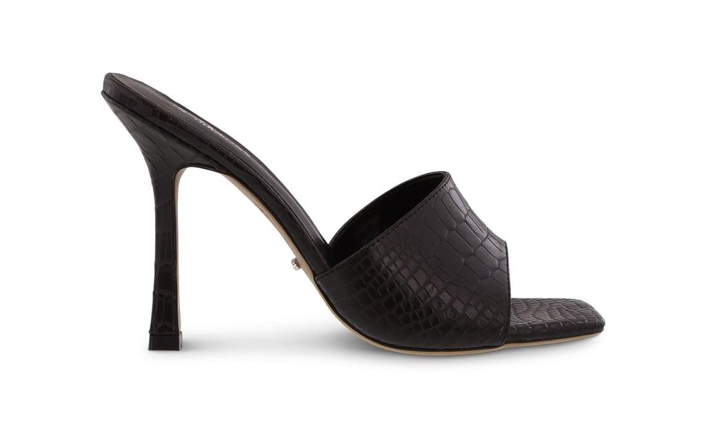 Tony Bianco Flora Black Alligator Heels