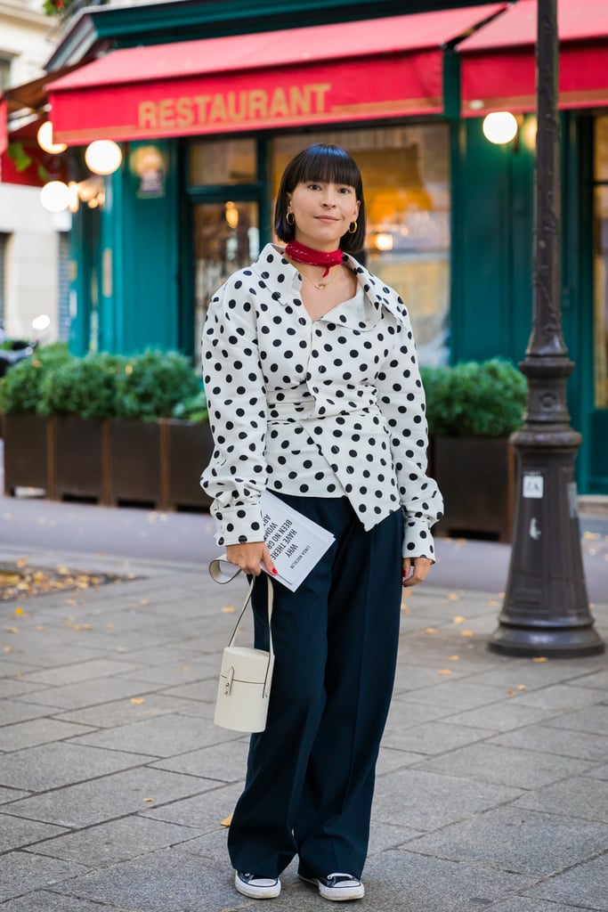 def72971a560 Wear a Red Skinny Scarf With Black and White — the Color Combination ...