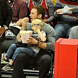 Chris Pratt and Son Jack at LA Clippers Game December 2017