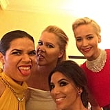 """""""Really good light back here in the presenters green room. @goldenglobes @amyschumer @evalongoria #JLaw"""""""