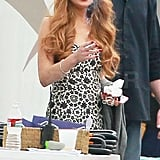 Lindsay Lohan joins the cast of Glee on set in LA.