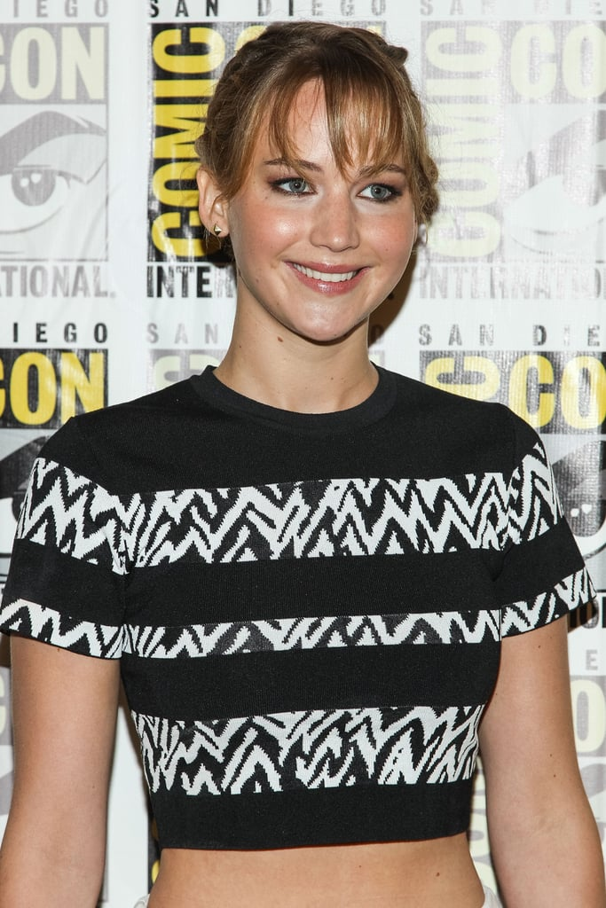 Jennifer Lawrence wore a crop top to promote Catching Fire.
