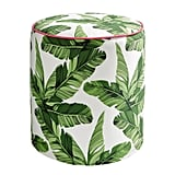 Round Palm Leaf Pouf
