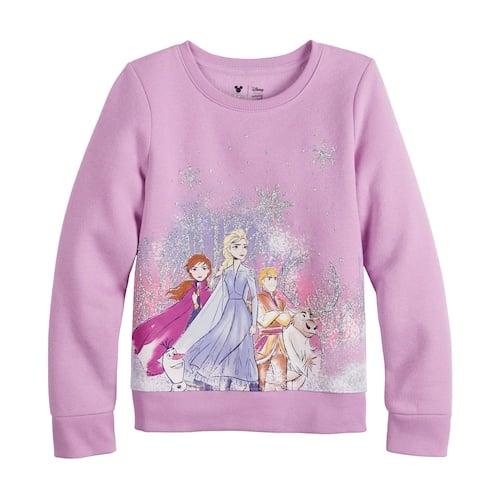 NEW Disney Character Youth Girls Fleece Lined Frozen Hoodie Sweater Sweatshirt
