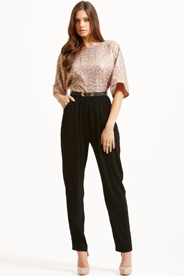 818278bb974915 Little Mistress Gold and Black Sequined Jumpsuit | Best Party ...
