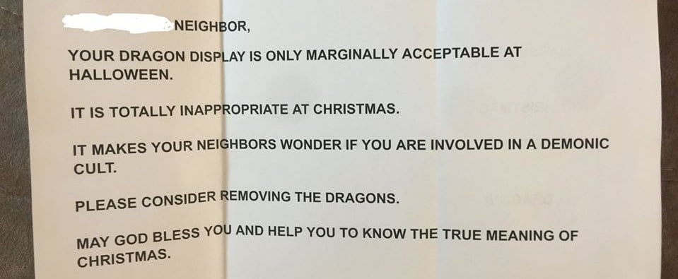 Woman Gets Shamed For Dragon Christmas Decorations