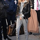 While Arriving at the 2017 Victoria's Secret Fashion Show, Gigi Wore Her Loafers With a Gray Tracksuit