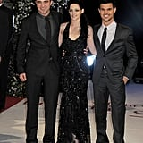 Robert Pattinson, Kristen Stewart, and Taylor Lautner at the UK premiere of Breaking Dawn Part 1.