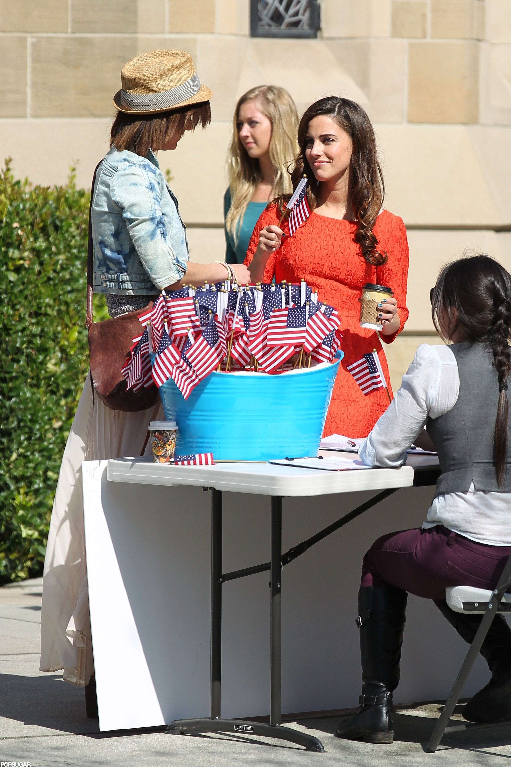 Jessica Lowndes got patriotic on the LA set of 90210 in March 2012