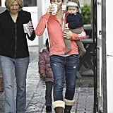 Jennifer Garner sipped her coffee and carried Samuel.
