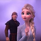 "We get our first peek at the original squad, aka grown-up Elsa, Anna, Kristoff (voiced by Jonathan Groff), Olaf, and Sven. Naturally, our favourite snowman — voiced by Josh Gadd — says something along the lines of, ""Maturity is making me poetic,"" and honestly I wish I could say the same. We find out that Elsa's hearing voices — never a good sign — and things quickly go south during a wholesome game of charades. Disturbed by the strange voice she's been hearing, Elsa makes an early exit because she's tired (Classic excuse to leave a party!) and goes to her room.  Anna gets up to check on her brooding sister when we learn that Kristoff is planning on proposing. (Cue the squeals). Yep, he has a ring and everything. Anna and Elsa have a deep conversation about whether or not Elsa is doing OK. She tells her sister that she's hearing voices and Anna promises her they're going to get through whatever is going on together. Fat chance of that, eh?"