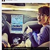 Geek & Sundry's Felicia Day gets scooped up in a Tesla, which, we discovered at the Consumer Electronics Show, features a 17-inch tablet in the dashboard.