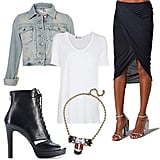 Understated Cool: Channel a cool vibe when you amp up your basic white tee with a draped high-low skirt, lace-up booties, and a denim jacket to beat the chill. Don't forget a megawatt statement necklace to seal the deal.  Topshop Moto Bleached Denim Jacket ($85), T by Alexander Wang Classic Short Sleeve Tee ($81), Helmut Lang Cross Draped Skirt ($185), Vince Camuto Lannlo Bootie ($149), Dannijo Zander Necklace ($550)