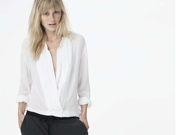 James Perse Pleated Crossover Blouse ($225)