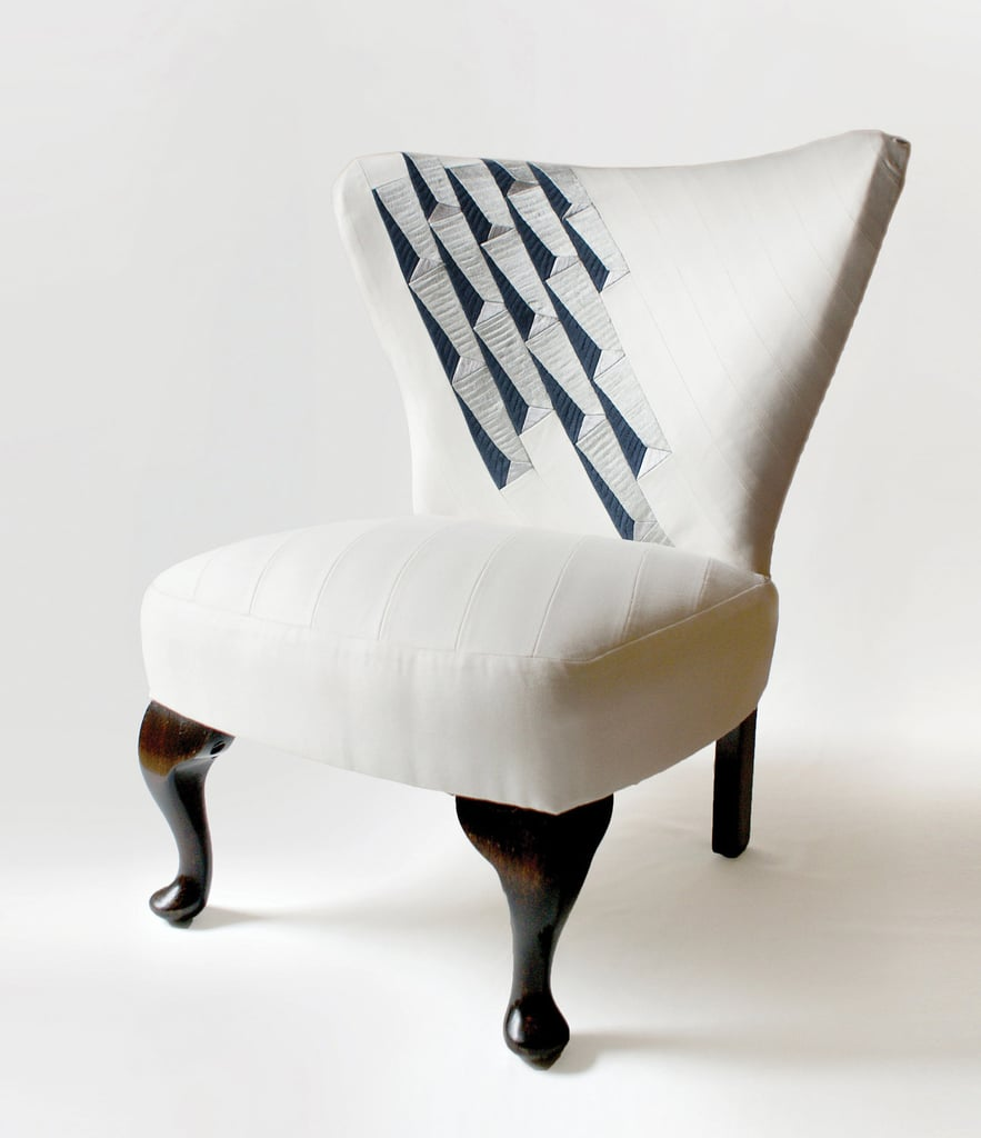 The Block Chair ($1,350) has been restored and reupholstered in a bespoke machine embroidered, cotton-satin patchwork design, which was inspired by a building facade in Germany.