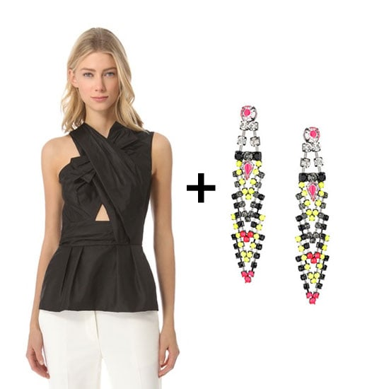 We love the whimsical, asymmetrical twist on this blouse. Play up the artistic look with a pair of neon rhinestone earrings and an updo for a chic look that's perfect for your next holiday soiree. Shop the look:  3.1 Phillip Lim asymmetric peplum top ($450) Topshop fluro articulated chandelier earrings ($30)