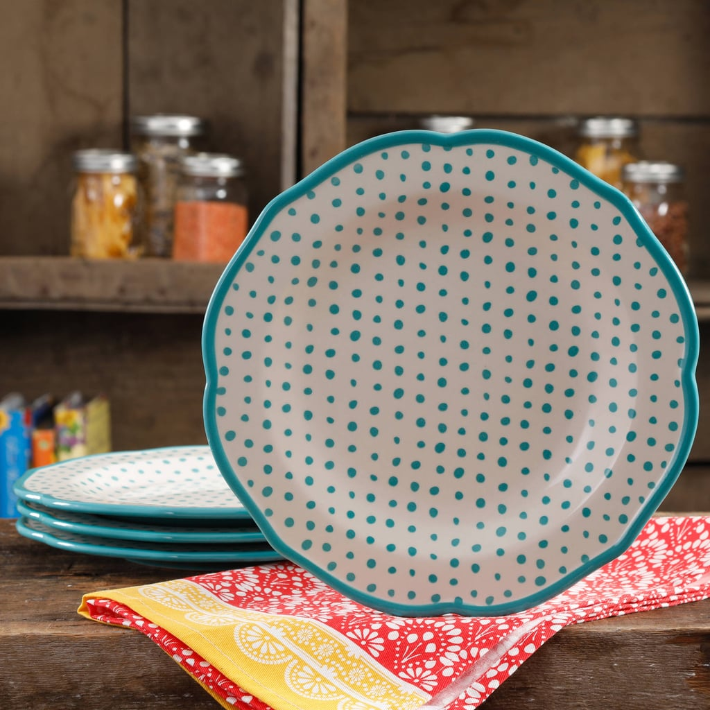 The Pioneer Woman Retro Dot Teal 10.5  Dinner Plate Set Set of 4 ( & The Pioneer Woman Retro Dot Teal 10.5