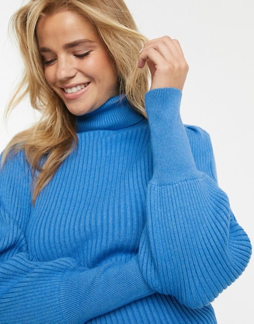 Moon River Volume Sleeve Roll Neck Sweater
