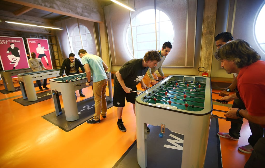 In São Paulo, people played foosball in the Museum of Football.