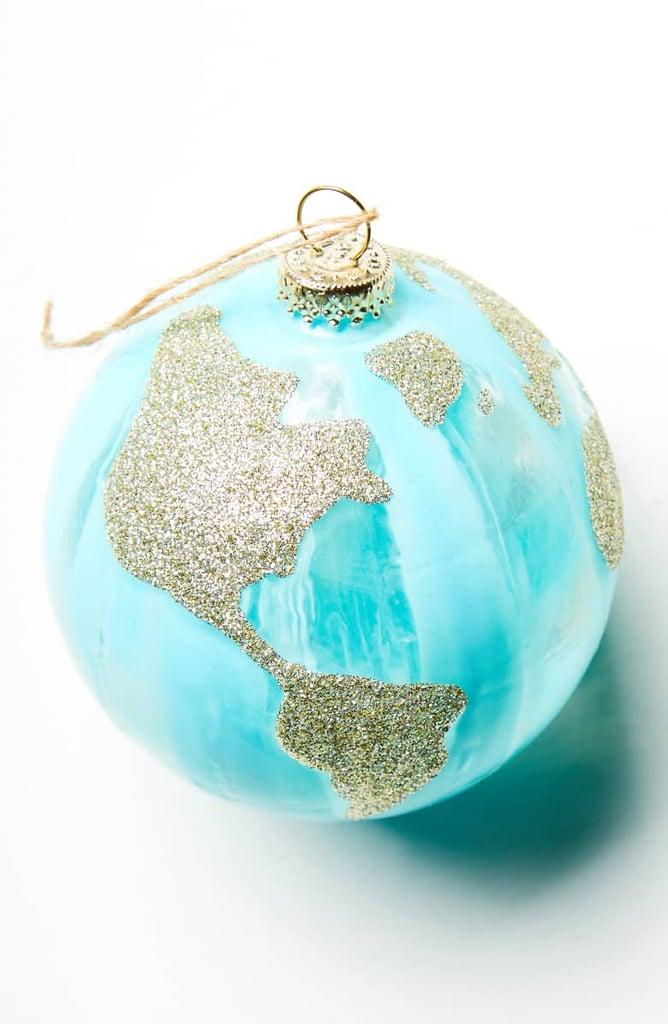 Anthropologie Glittery Globe Ornament