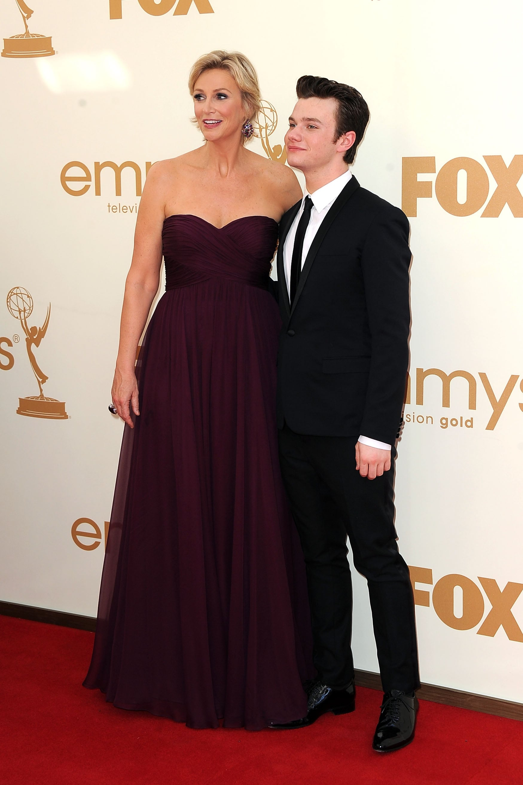 Jane Lynch and Chris Colfer at the Emmys.