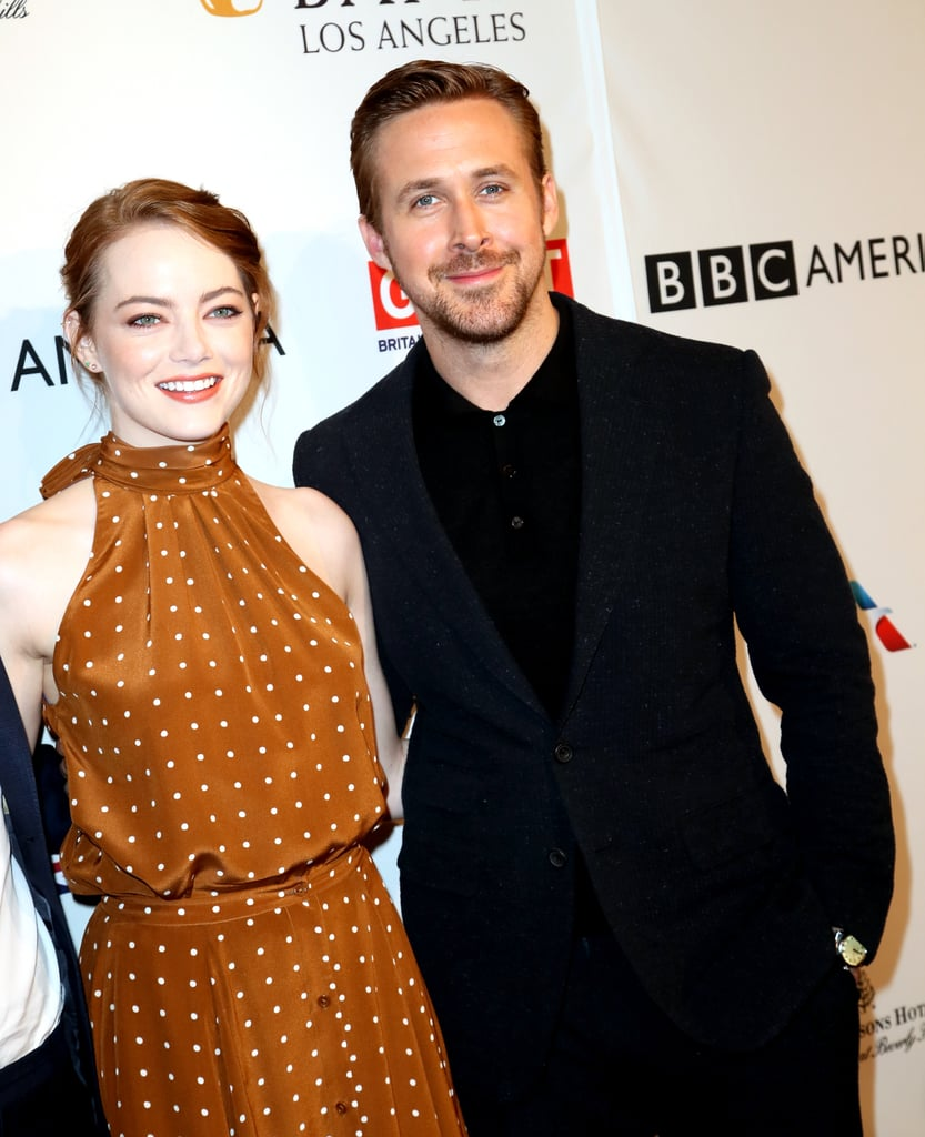 """Emma Stone and Ryan Gosling kicked off Golden Globes weekend with a bang. In addition to Emma reuniting with ex-boyfriend Andrew Garfield at the AFI Awards luncheon on Friday, the La La Land costars made a stylish arrival at the star-studded BAFTA Tea Party in LA on Saturday. Ryan and Emma were joined by the film's director, Damien Chazelle, and the trio stuck together on the red carpet. Sunday's Golden Globes mark the first major award show of the year, and it's expected to be a big night for La La Land as it's nominated for seven awards, including best motion picture. We can't wait to see even more sweet moments between Emma and Ryan!      Related:                                                                Ryan Gosling's Sweet Tribute to Debbie Reynolds May Make Your Heart Hurt                                                                   Ryan Gosling Feels """"So Lucky"""" to Have Eva Mendes and Their Daughters in His Life: """"It's Like a Dream"""""""