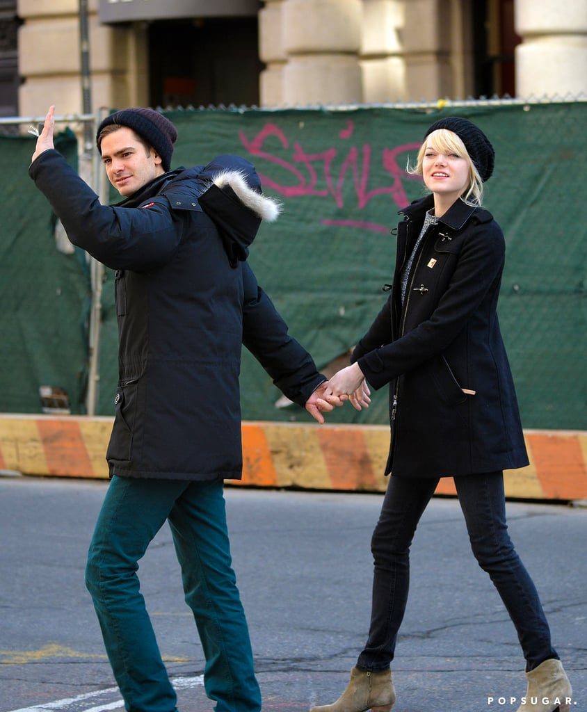 Andrew Garfield and Emma Stone left a breakfast joint in the West Village this morning holding hands. Emma and Andrew both wore coats and hats for the outing and seemed to be in good spirits as they smiled and waved. The meal was a break for Andrew, who has been filming The Amazing Spider-Man 2 all week. Andrew spent time yesterday on set doing a few stretches to warm up, and earlier this week he was back in his Spidey-suit hanging upside down. His new castmate, Shailene Woodley, also joined him on set for several scenes. Shailene will take on the role of Mary Jane Watson, while Jamie Foxx and Paul Giamatti are also signing on for the sequel. Andrew's on and off-screen love, Emma Stone, will return as Gwen Stacy.