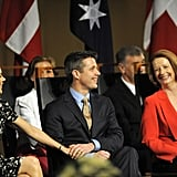 Julia Gillard shared a laugh with Crown Princess Mary and Crown Prince Frederik of Denmark when she visited Canberra in Nov. 2011.
