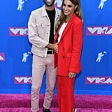 Nev Schulman and Laura Perlongo at the 2018 MTV VMAs